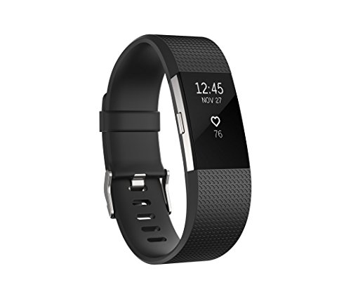 Fitbit Charge 2 Heart Rate + Fitness Wristband, Black, Large Personal Care