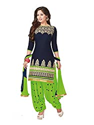 PShopee Navy Blue & Light Green Cotton Embroidery Unstitched Patiyala Dress Material