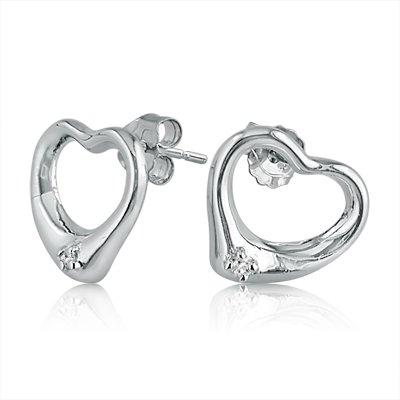 Click to buy Diamond Stud Heart Earrings: Open Heart Diamond Stud Earrings from Amazon!