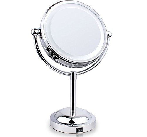 Lighted Vanity Makeup Mirror Chrome 3X Magnifying Double-Sided Battery Operated eBay