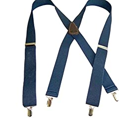 Classic Series Blue HoldUp Suspenders in X-back With Silver No-slip Clips