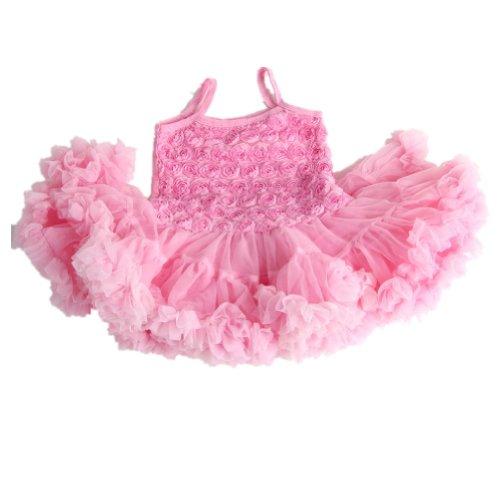 Andi Rose Girls Lace Rose Party Princess Dress Dancewear (Pink, M-Size:1-2 Years)