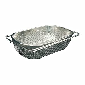 Whitehaus WHNEXC01-SS Over-the-Sink 13-1/2-Inch Extendable Colander/Strainer, Stainless Steel