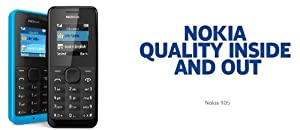 NOKIA 105 CAYAN BLUE/BLACK SIMFREE GSM UNLOCKED TORCH RADIO EASY TO USE BASIC LONG BATTARY DUST & SPLASH PROOF