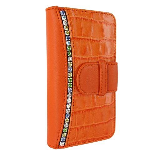 Great Sale Apple iPhone 5 / 5S Piel Frama Orange Swarovski Crocodile Leather Wallet