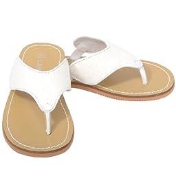 L\'Amour White T Strap Flip Flop Summer Spring Sandal Toddler Girl 10
