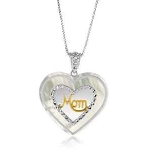 "18k Gold Over Silver & Sterling Silver Mother of Pearl & Diamond Accent ""Mom"" Heart Pendant"