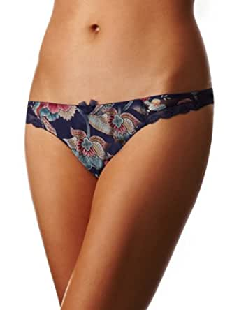 Panache Fern  Low Rise Women's Thong Blue/Flora Size 16
