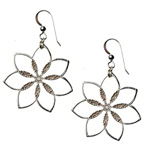 Flower Power! Silver-dipped Earrings on French Hooks