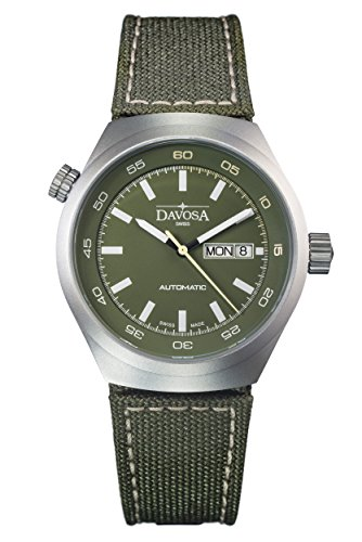 Davosa Trailmaster Men's Automatic Watch with Green Dial Analogue Display and Green Nylon Strap 16151875