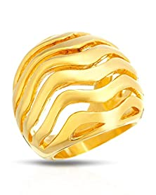 buy Classic Gold Tone Wavy Cut Out Design Stainless Cocktail Dome Ring- Size 9