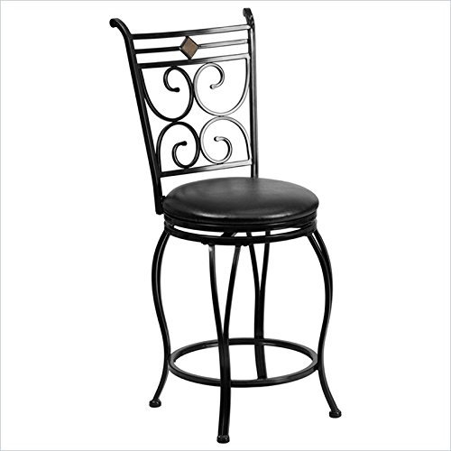 Flash Furniture Bs-6204-24-Bk-Ctr-Gg Metal Counter Height Stool With Leather Swivel Seat, 24-Inch, Black
