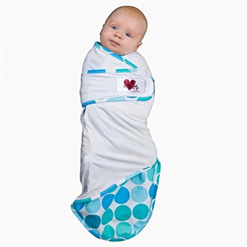 Go Mama Go Snug and Tug Adjustable Swaddling Blanket, Caribbean Blue/Premie