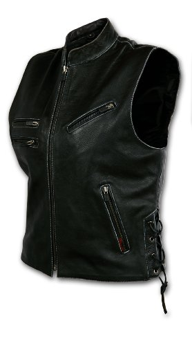 Milwaukee Motorcycle Clothing Company Batista Black Leather Women's Vest