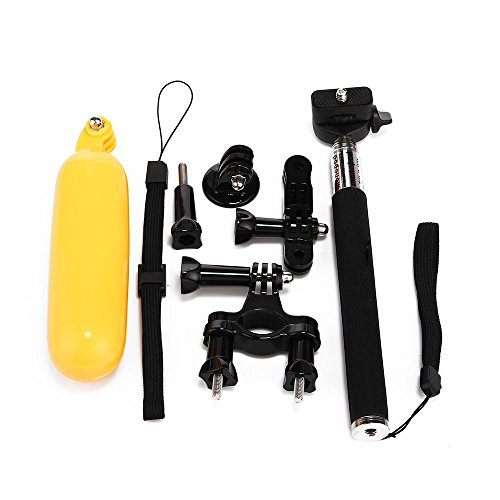 Masione™ 7-In-1 Accessories Kit For Gopro Hd Hero 3+/3/2/1 Camera:Gopro Telescoping Extension Pole Monopod + Floating Handle Grip Pole + Motorcycle Bike Handlebar Seatpost Pole Mount + Three-Way Adjustable Pivot Arm