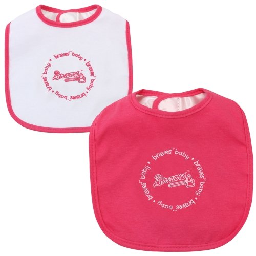 Mlb Atlanta Braves Baby Fanatic Bib (2-Pack), Pink front-805619