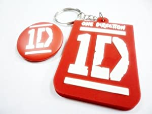 2x 1D ONE DIRECTION MUSIC Keychain Key Fob Ring & Button Badge Pin Pinback brooch