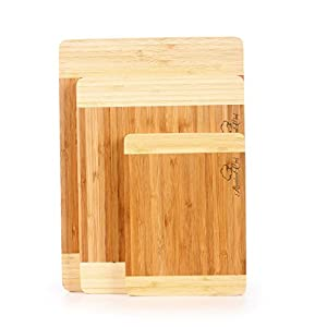 Abundant Chef® Premium Bamboo Cutting Board Set. Extra Thick, Durable, Strong. Eco-friendly and Renewable Better Than Wood Cutting Boards. Large, Medium and Small Kitchen Cutting Boards for Bread, Vegetables, Fruit, Cheese
