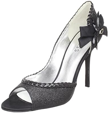 Guess Women's Evelyna2 Open-Toe Pump,Black Leather,6.5 M US