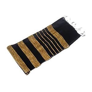 Store Indya Exquisite & Elegant Black Tussar Silk Bhagalpuri Scarf Dupatta Stripes Pattern Long Stole