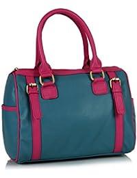Goldmine Women's Blue::Pink Color Handbag