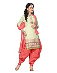 Desi Look Women's Beige Jacquard Cotton Patiyala Dress Material With Dupatta