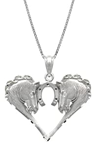 """Sterling Silver Horse with Horseshoe Necklace Pendant with 18"""" Box Chain"""