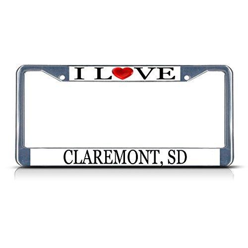 license-plate-frame-i-love-heart-claremont-sd-aluminum-metal-license-plate-frame