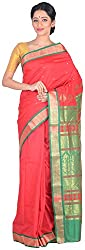 Sree Howrah Stores Women's Silk Saree with Blouse Piece (Red and Green)