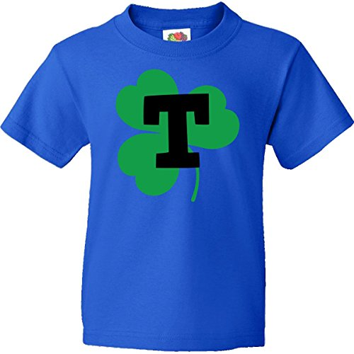 Inktastic Big Boys' Irish Shamrock Letter T Monogram Youth T-Shirts Youth Large Royal Blue front-927812