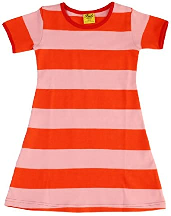DUNS Sweden DUNS Coral/Tomato Striped Short Sleeve Organic Cotton Dress/ 4-6 Months multicoloured