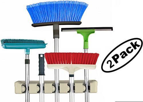 Broom & Mop Holder / Organizer, Wall Mount with 5 Slots Hanger. Home and Kitchen Storage Solution - 2 Pack.
