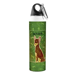 Tree-Free Greetings VB47981 John W. Golden Artful Traveler Stainless Steel Water Bottle, 18-Ounce, Chocolate and Tan Chihuahua