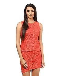 Mayra Women's Net Dress (1604D19312_L Peach )