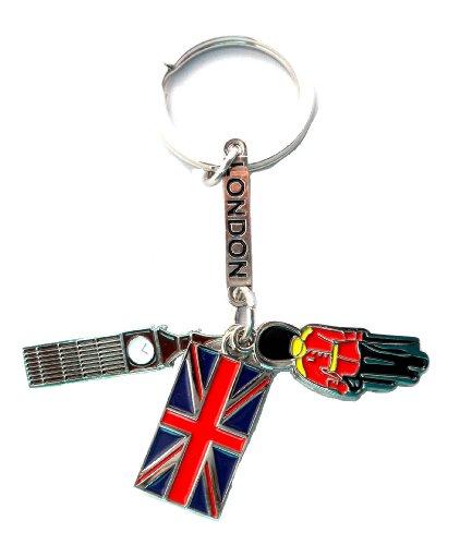 Amo Londra Souvenir / amo guardia della regina di Londra, Big Ben & Union Jack / FLIP FLOP / portachiavi Souvenir di Londra - Big Ben portachiavi - Queen corona & Union Jack portachiavi / perizoma + Portachiavi di sorpresa 2 Souvenir Londra - BUY 1 GET 2 gratis