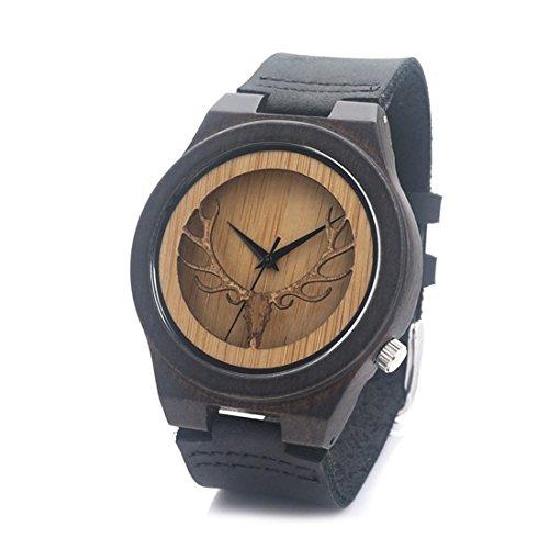 souarts-orologio-al-quarzo-unisex-braccialetto-in-bambu-legno-motivo-cervo-pelle-manuale-nero-24-cm-