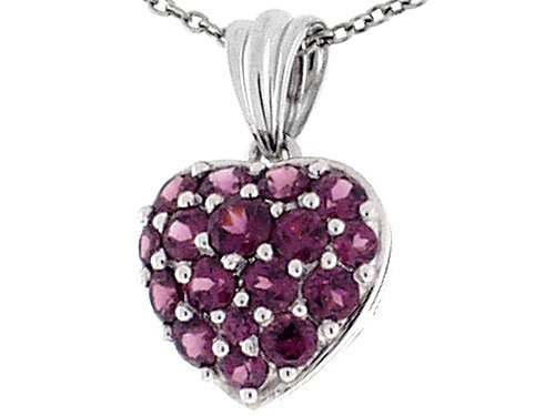 Heart Shaped Rhodolite in White Gold Heart Pendant