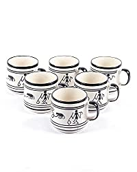 VarEesha Monochrome Warli Ceramic Cups Set Of 6- For Home/ Kitchen/ Mugs/ Cups/Tea/ Coffee/ Gift Items