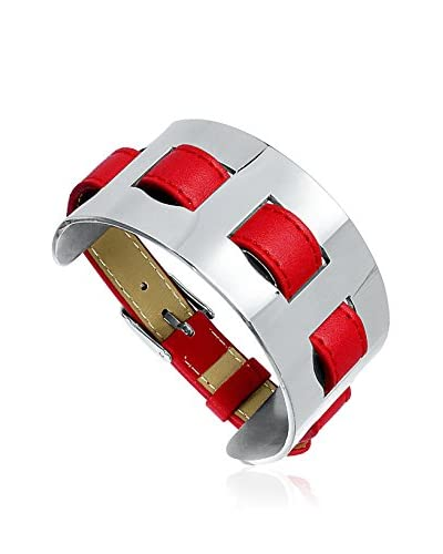Fashion Victime Brazalete Fashion Plata / Rojo