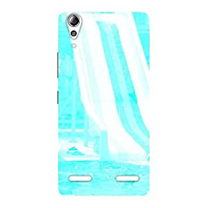 Cute Ride Cyan White Back Case Cover for Lenovo A6000 Plus