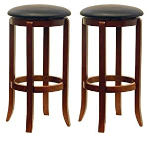 Winsome Wood 30-Inch Black PVC Seat Walnut Bar Stools, Set of 2 by Winsome Wood