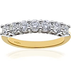 Ariel 18ct Yellow Gold Eternity Ring, IJ/I Certified Diamonds, Round Brilliant, 1.00ct, Yellow Gold, N