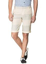 Zovi Blue & Ecru Linen Shorts(1207540080132)