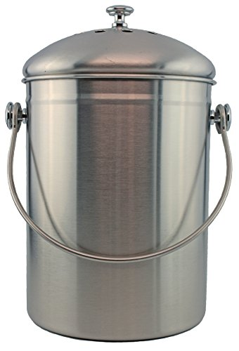 Stainless Steel 1 Gallon Compost Pail with Filter (Stainless) (Stainless Steel Pail With Lid compare prices)