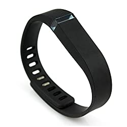 Skoot Replacement Wrist band strap for Fitbit Flex with Metal Clasps - L Size Black