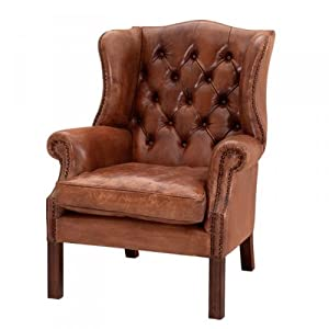 Luxury Leather Wing Chairs Chesterfield Vintage Brown