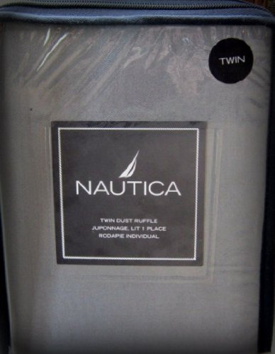 Nautica Grover Beach Black ~ Grey Twin Dust Ruffle Bed Skirt ~ (Quantity 1) front-1021562