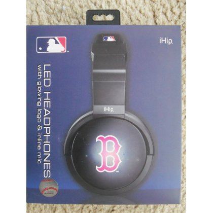 iHip MLH44BS Official MLB Boston Red Sox Pro DJ LED Light-Up Logo Headphones