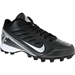 Buy NIKE Mens Land Shark Mid Football Cleats - Size: 9.5, Black metallic Silver by Nike