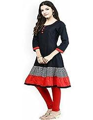 Jashvi Creation Women's Cotton Blue & Red Kurti (JC_Kurti_7026)